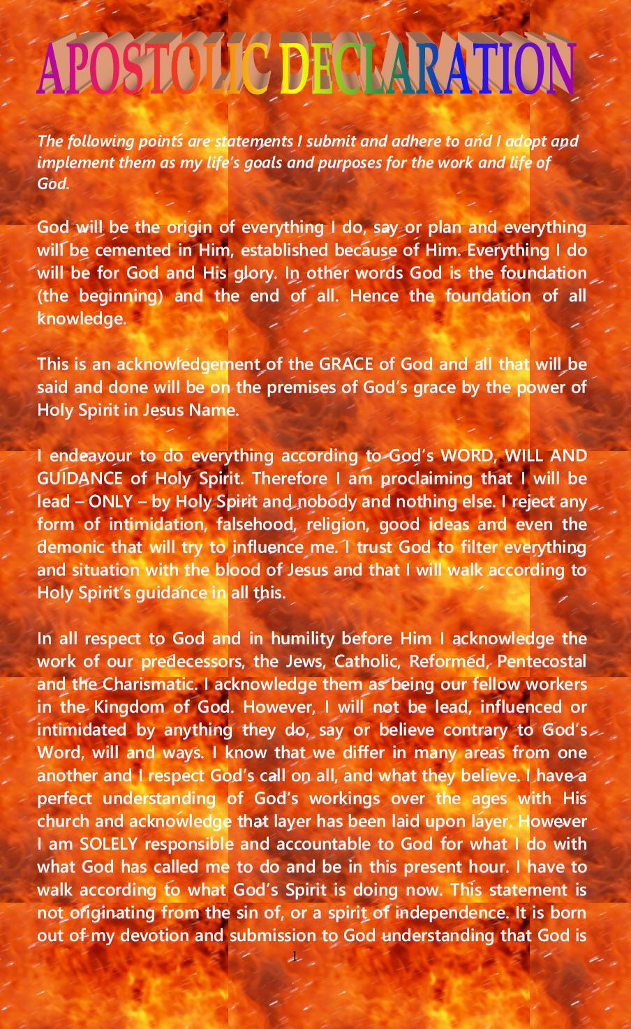 APOSTOLIC DECLARATION